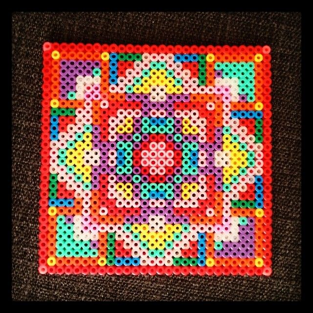 Colorful Hama Perler Square Design By Zita Falk Hama Beads Hama