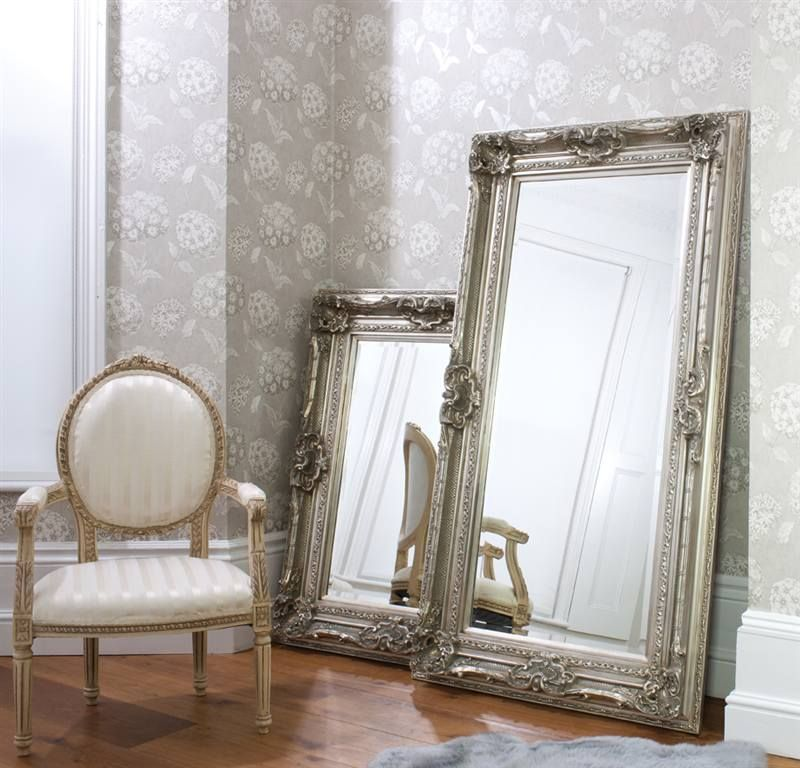 Floor Mirrors Valois Silver Floor Standing Leaner Mirror