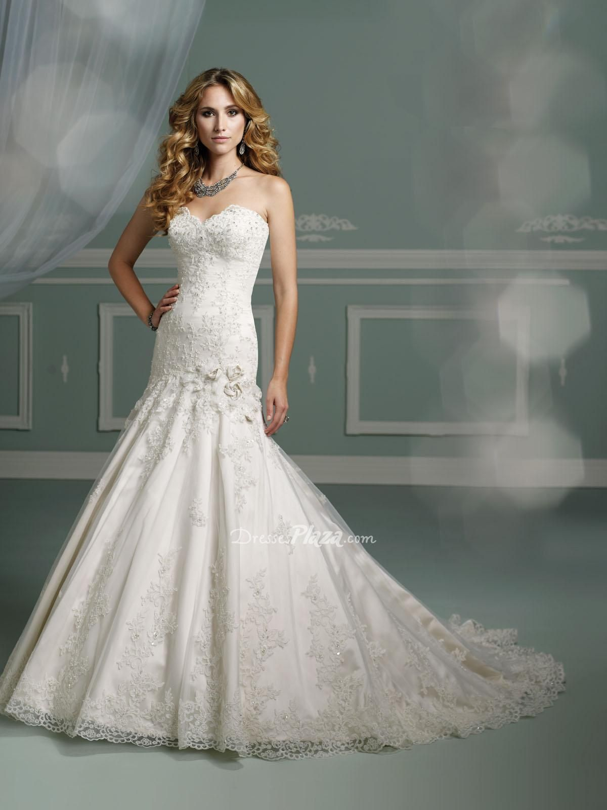 Beaded lace applique over satin strapless mermaid for Sweetheart neckline drop waist wedding dress