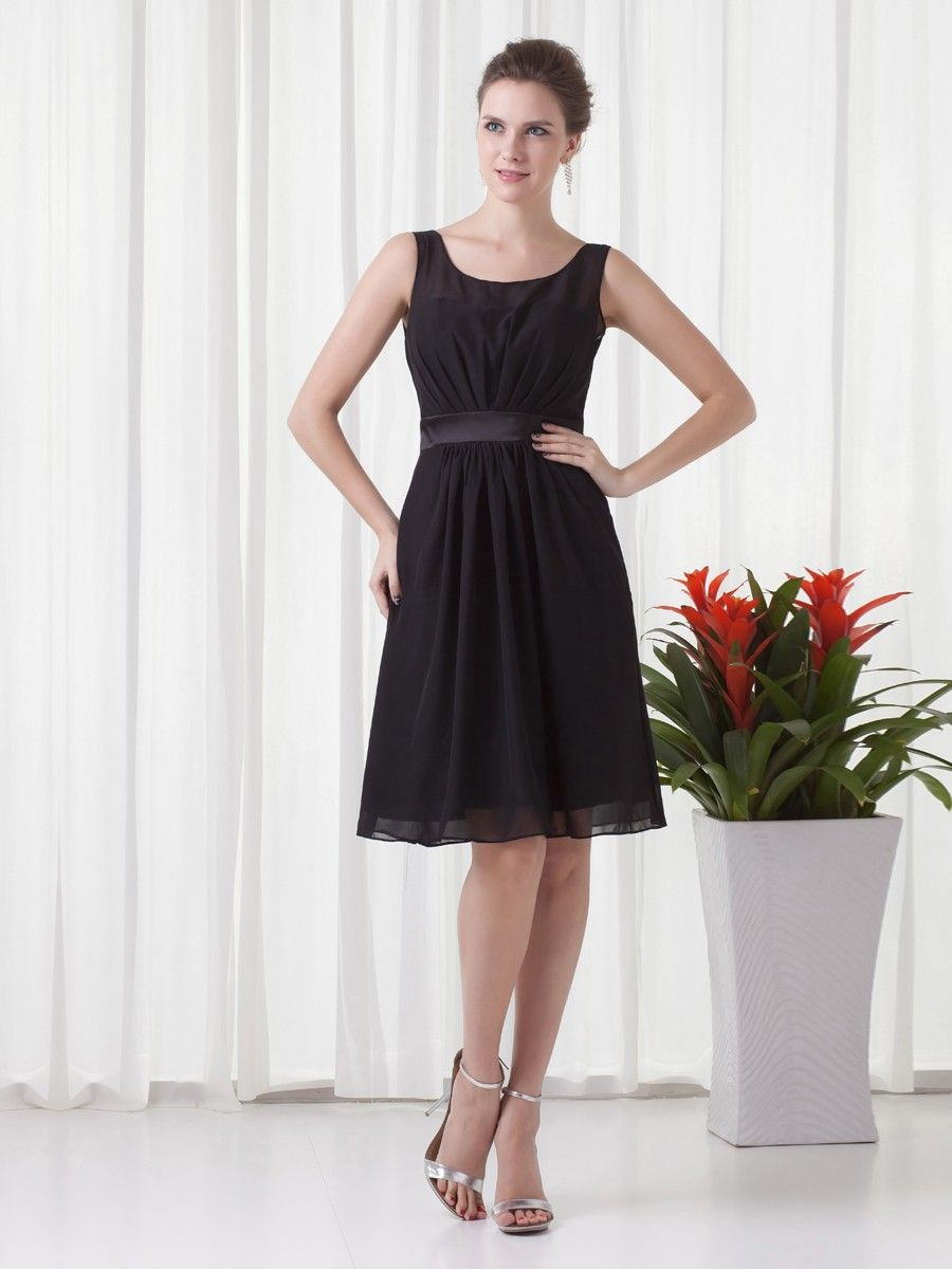 Black chiffon knee length sashribbon sleevesless aline cocktail