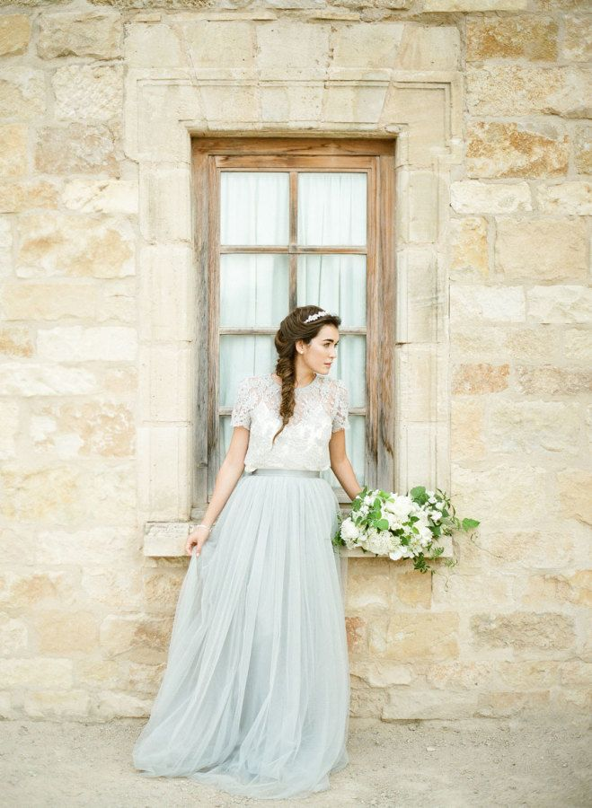 There's something so romantic and unique about elegantly styled bridal separates... Looking for inspiration for your mix n' match? Check out these 16 stunning ways to do tops and tulles.