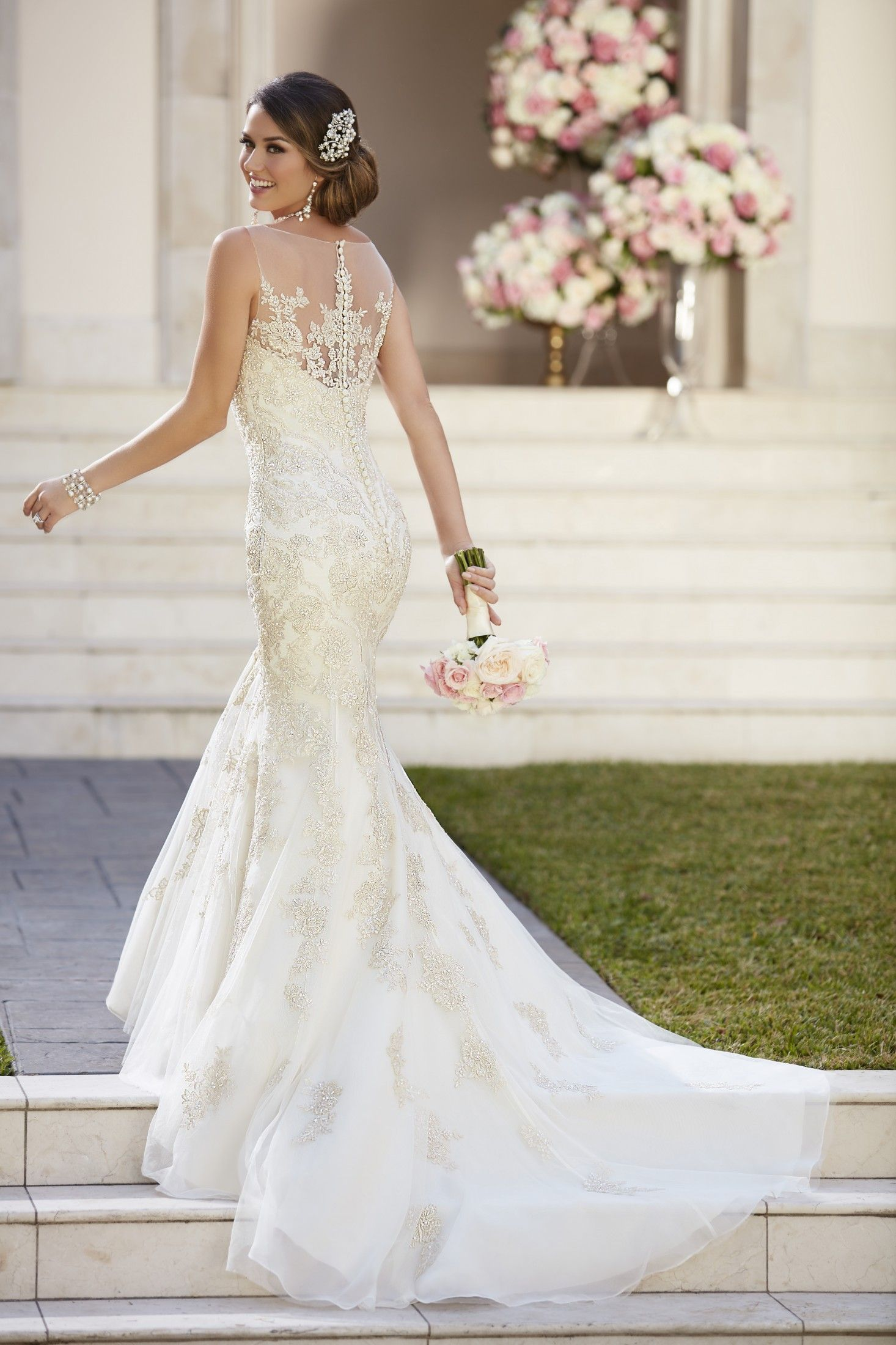 Sp this modified fit and flare designer wedding dress by stella