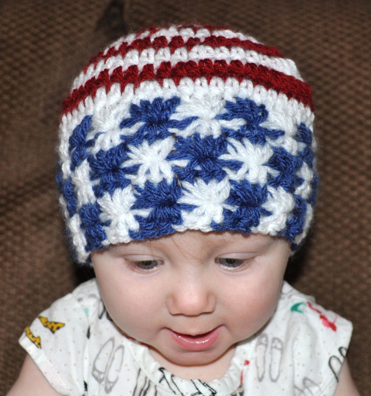 New Handmade White with Red and Blue Stars Baby Boy Hat