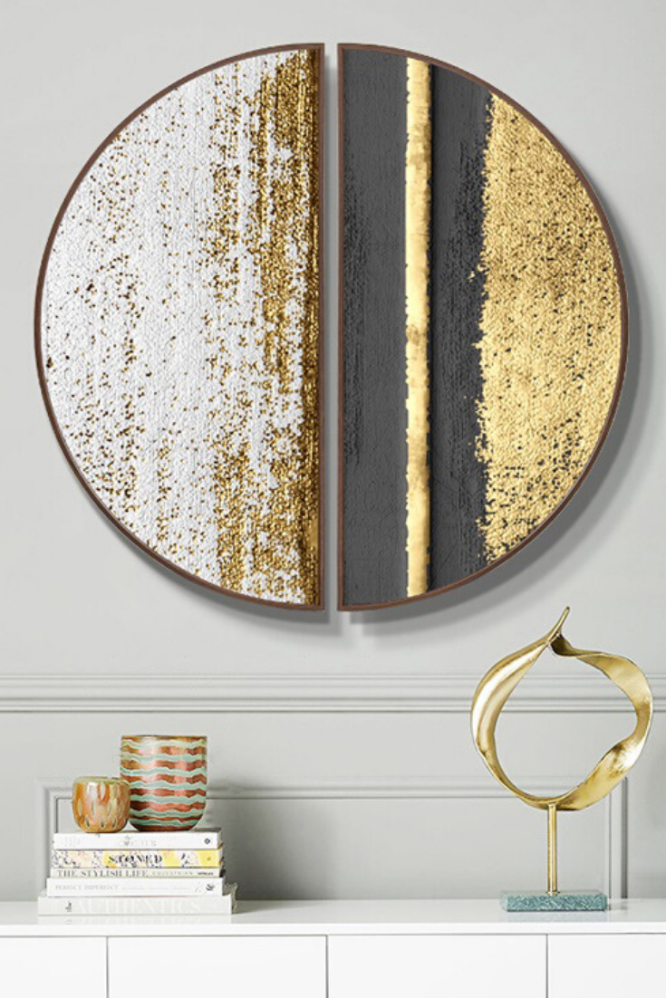 Photo of Golden Abstractions Round Wall Art | Paintings | Hangings
