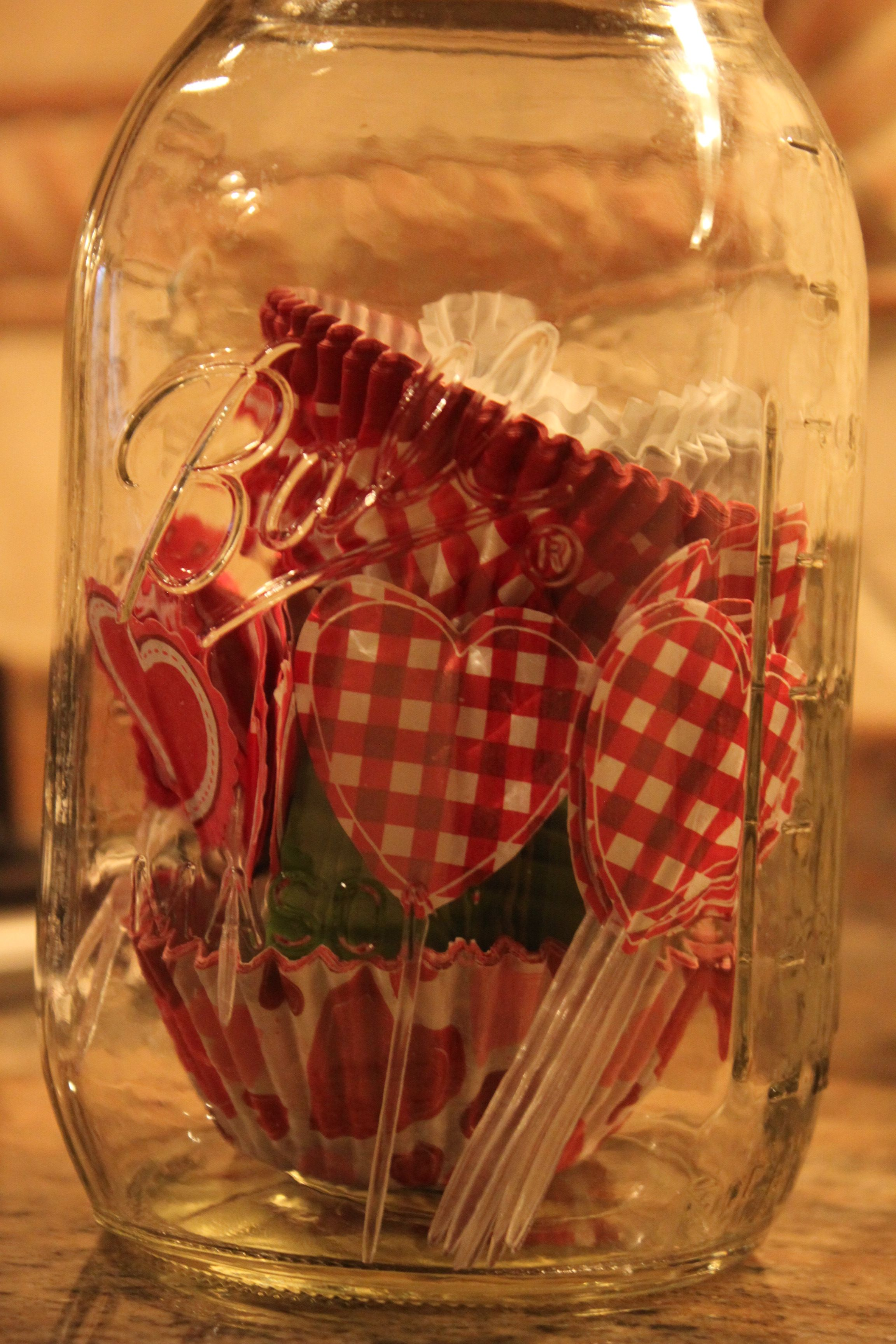Use a large mason jar to store your muffin liners!