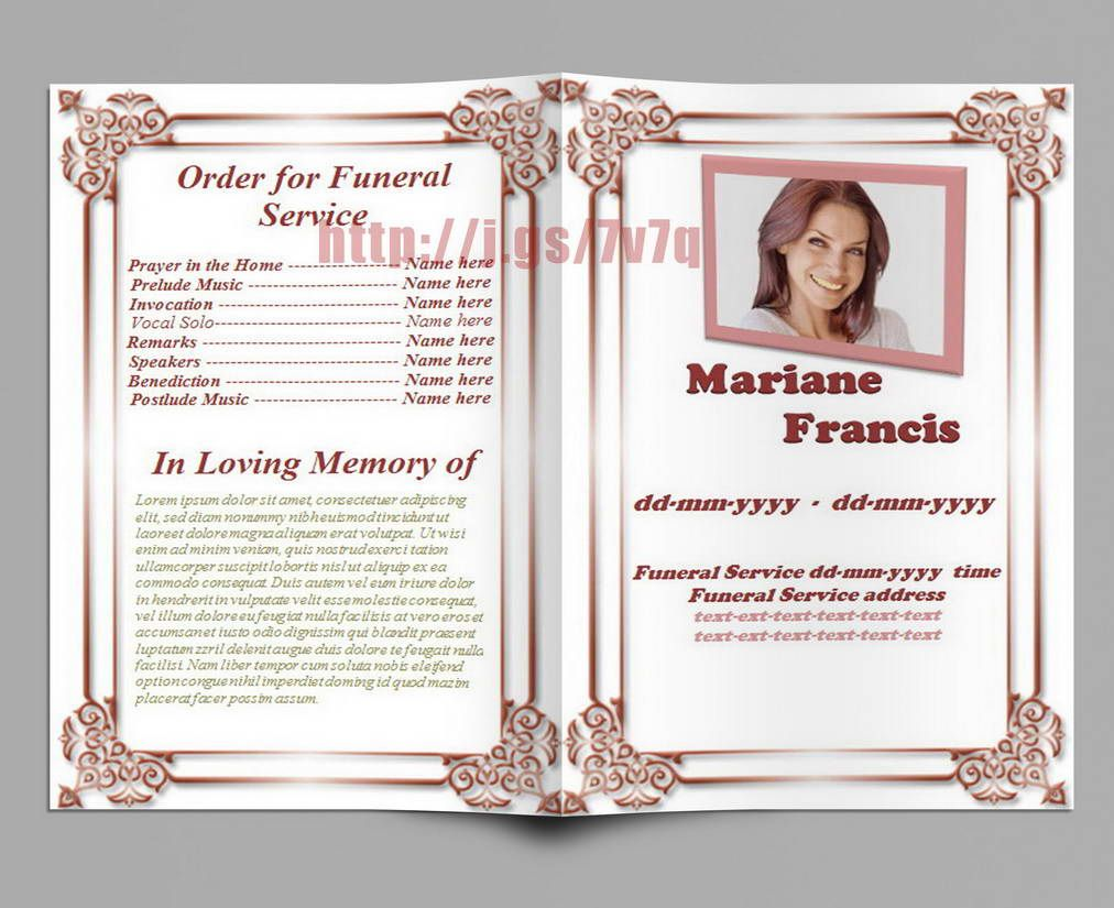 Memorial Service Program Template Download   Memorial Service
