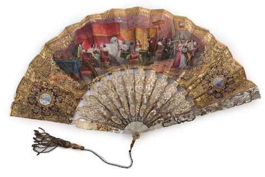 The Testament A Circa 1860's White MotherofPearl Fan