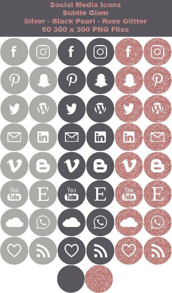 INSTANT DOWNLOAD Social Media Icons Subtle Glam