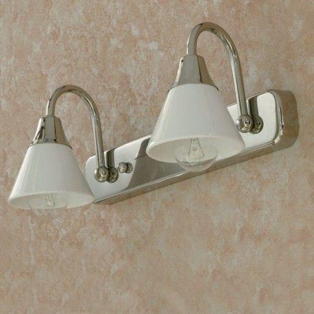 DEA Applique da Parete a 2 Luci Cromo Ceramica Bianca