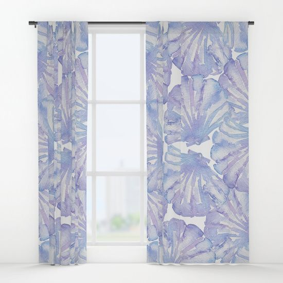 Shell Ya Later Watercolor Purple Seashell Window Curtains