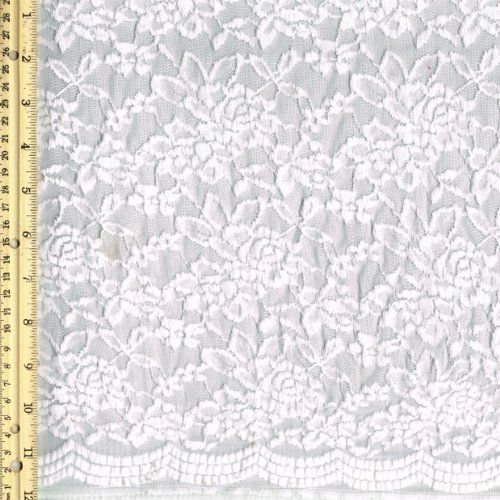 Off White Scallop Floral Pattern Lace Fabric -- See this great item.