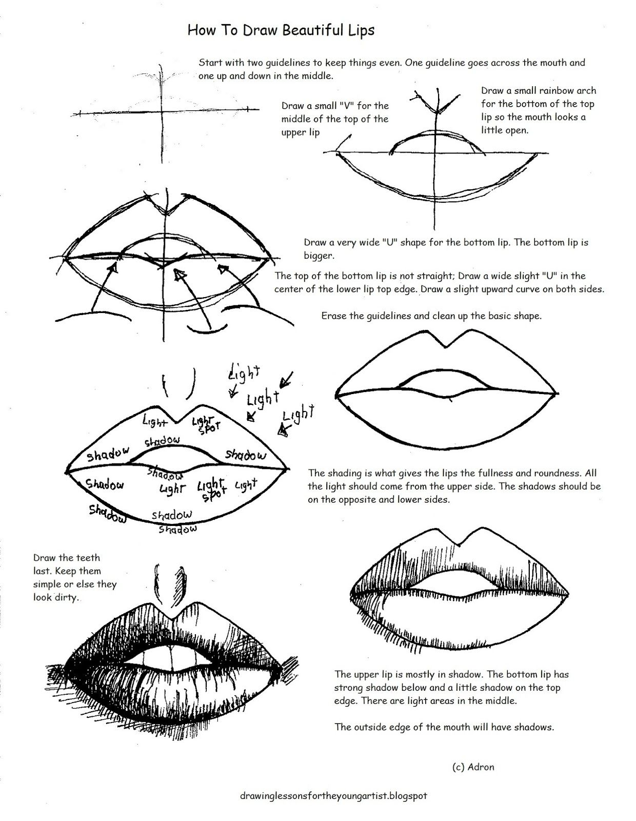 Easy Drawing Lessons And Worksheets For The Beginning Artist Perfect To Use In Class Or Home Te Lips Drawing Drawing For Beginners Easy Drawings For Beginners