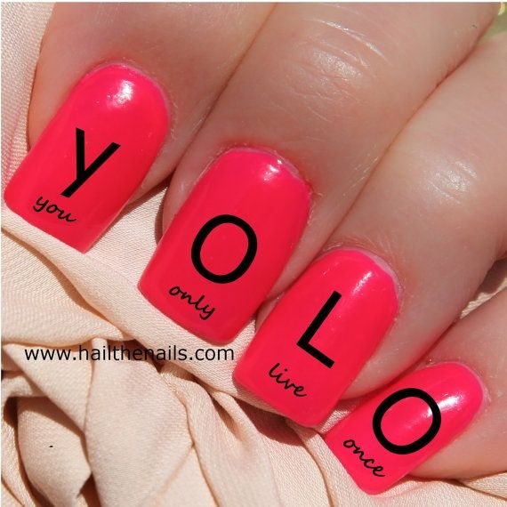 I found 'Black YOLO Nail Art Water Transfer Decal 'You Only Live Once'' on Wish, check it out!