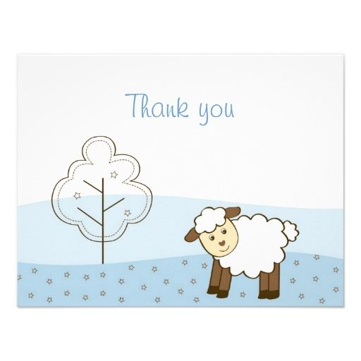 Blue Little Lamb Thank You Note Cards Invitation