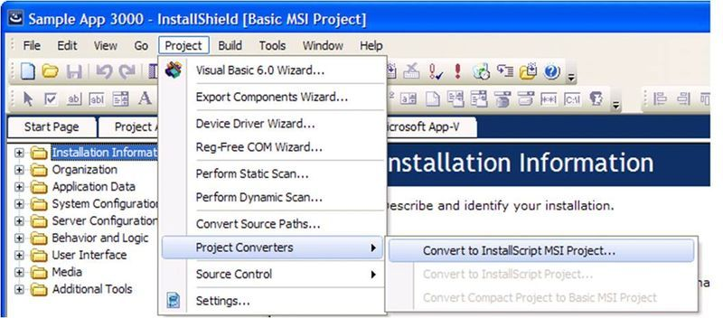 Converting Between InstallShield Project Types  Graphic from