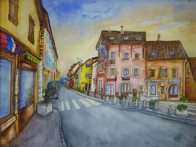 St.Genis | Title: St.Genis  Created year: 2013  Technique: Aquarelle — in Saint-Genis-Pouilly.