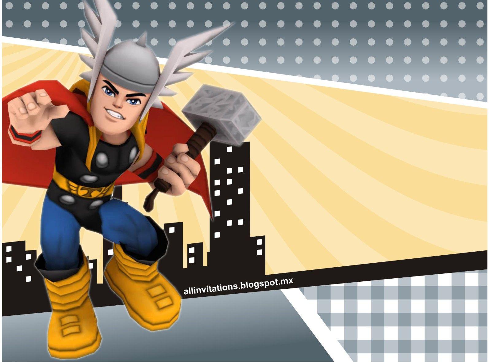 Plantilla invitacion cumpleaños thor | Super hero birthday party in ...