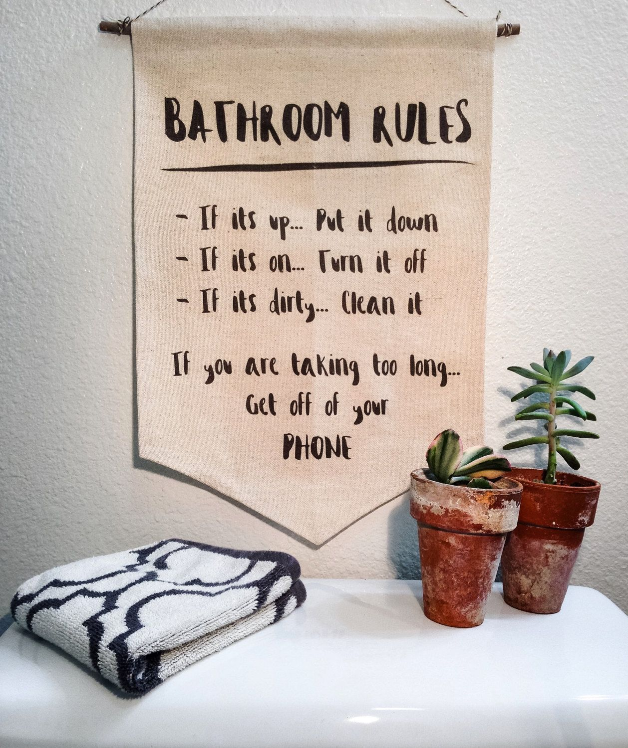 Bathroom wall decor quotes - Handmade Bathroom Rules Canvas Wall Banner Bathroom Wall Decor Bathroom Quote Wall