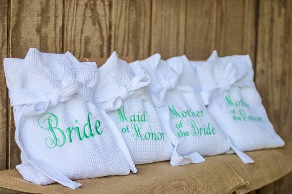 Set of 4 Personalized Wedding Robe Gift Set  by HeritageWedding