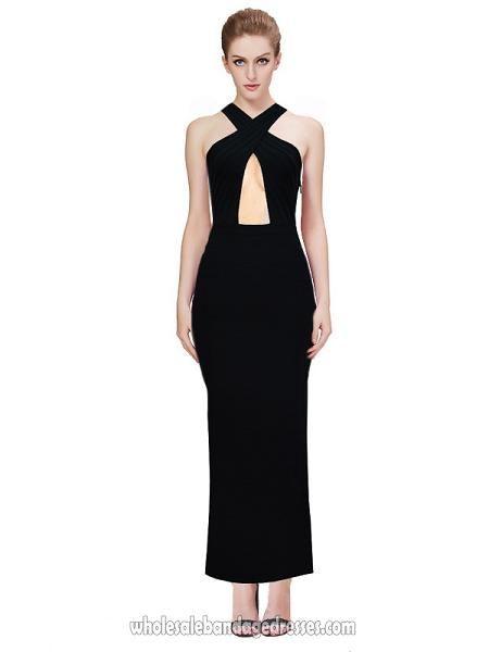 Herve leger gown long bandage dress black crisscross ankle length sale  cheap from Herve Leger Wholesale