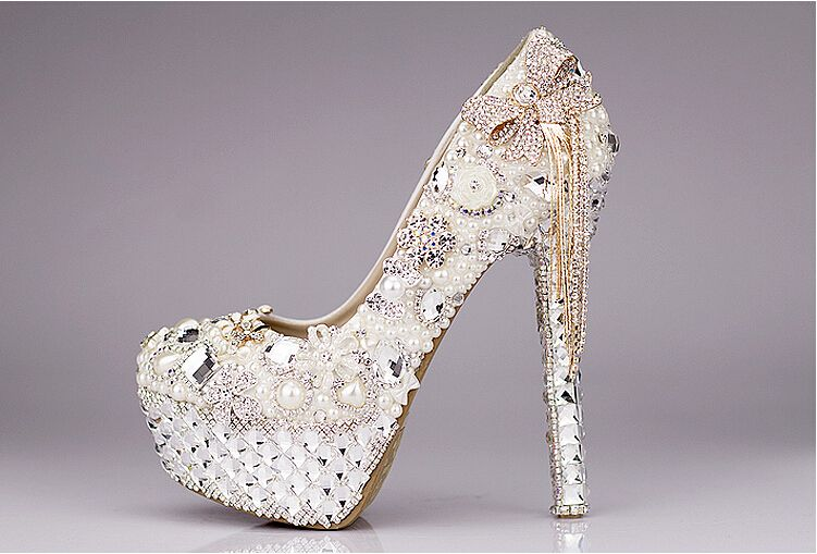 14 Cm Unicorelle Crystal Bridal Heels Wedding Shoes Platform Pumps Party Shoes Wedding Shoes Wedding Shoes Online Pearl Wedding Shoes
