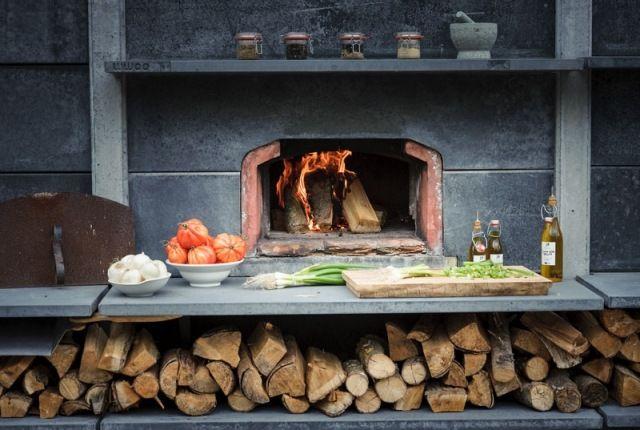 Außenküche Mit Backofen : Außenküche wwoo einbau kamin ofen arbeitsplatte beton abstellraum