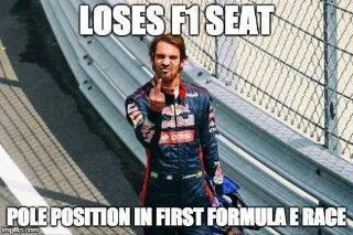 Loses F1 seat - pole position in first Formula-E race. Take that Red Bull...