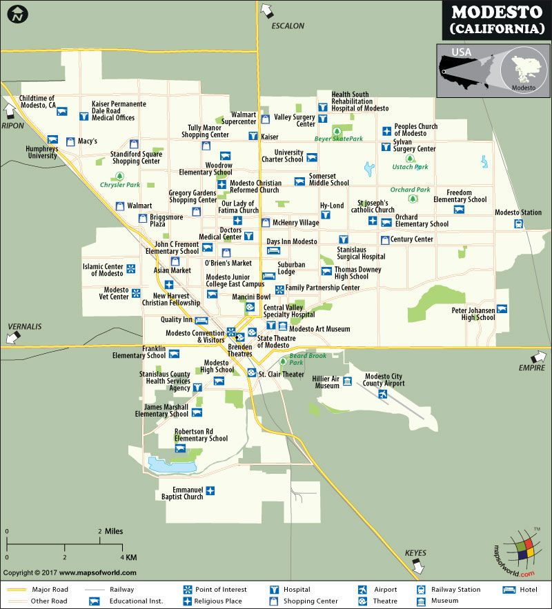 Modesto City Map California city map in 2019