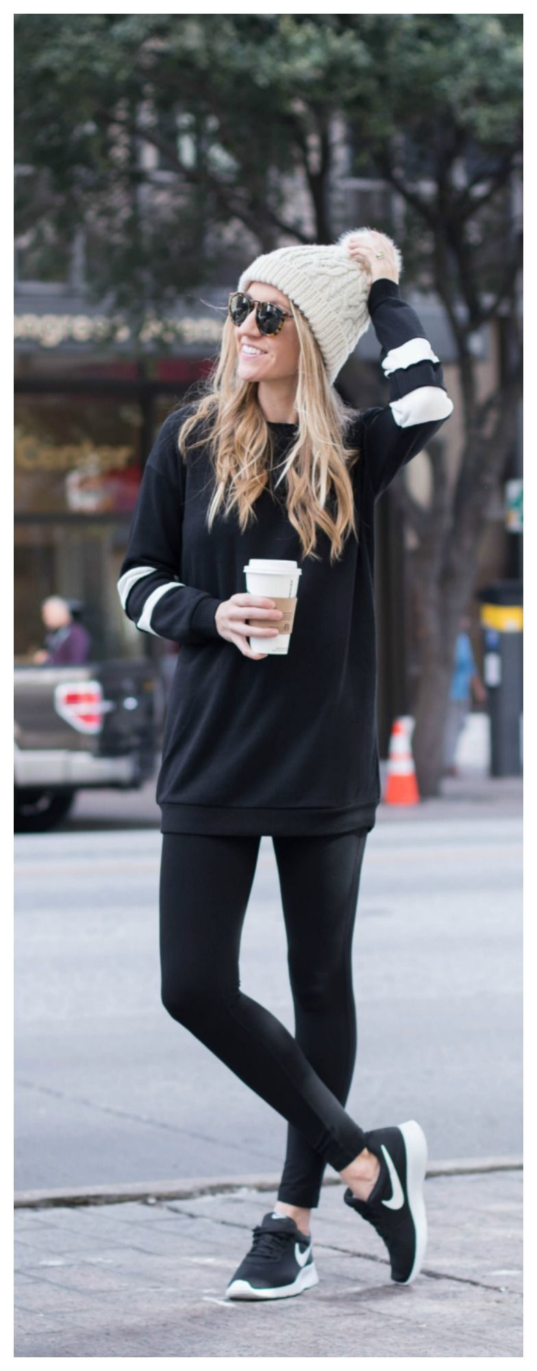 the perfect winter outfit // beanie, leggings, tunic sweater, and