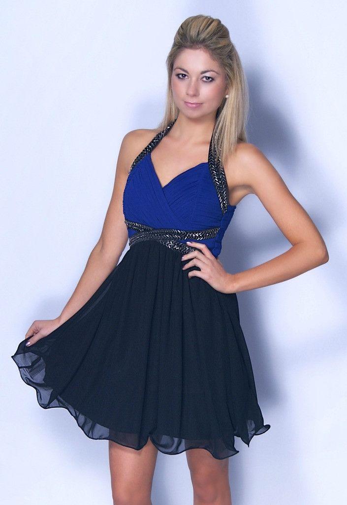327c5646bb Little Mistress Blue and Black Halterneck Dress - Party Dresses