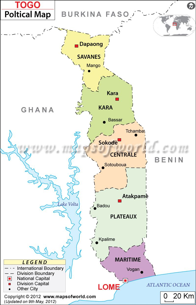 Togo is a country of west africa the land boundary of the country political map of togo togo regions map gumiabroncs Image collections