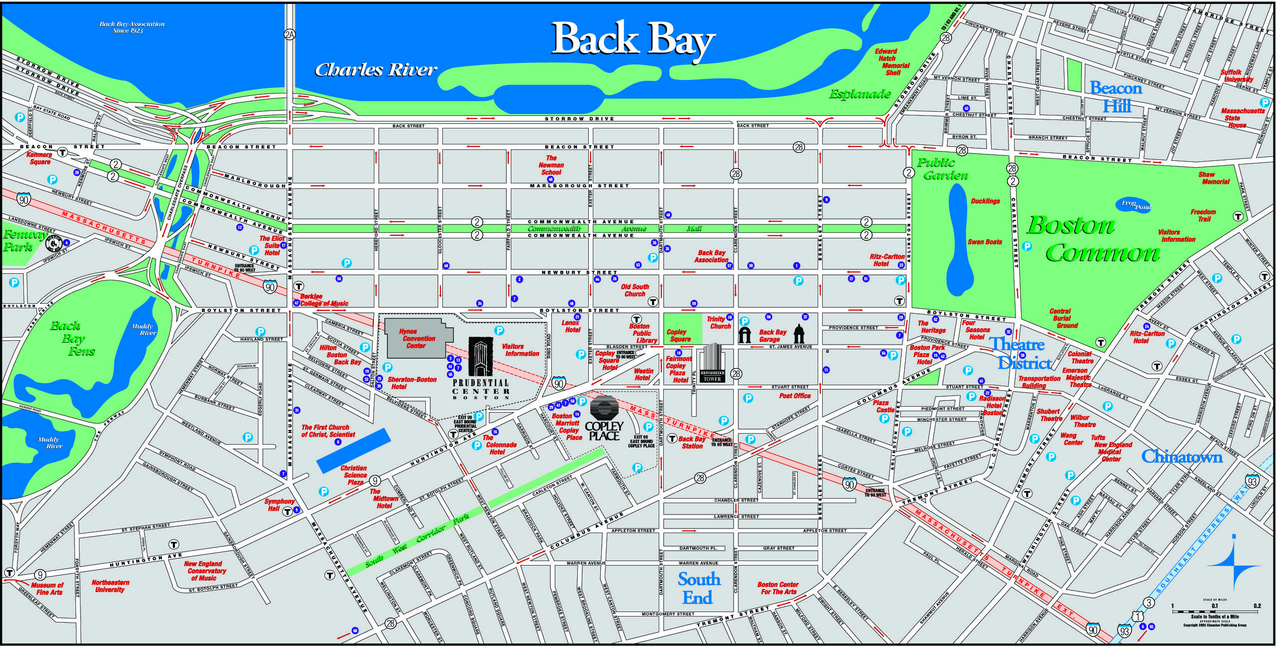 Back Bay Boston map, Back bay, Boston common
