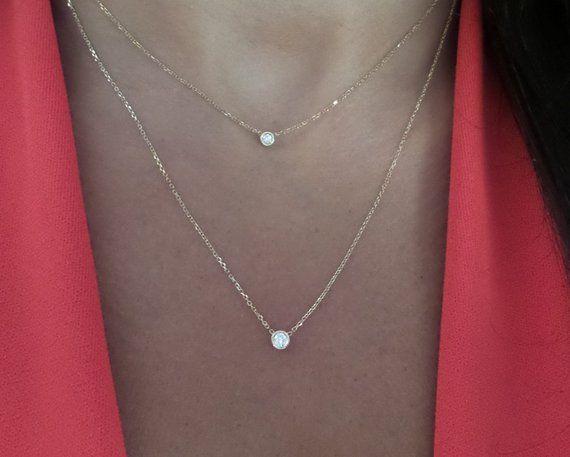 0b7f01fddccc7 14k Gold Diamond Solitaire Necklace / 14k Gold Layered Diamond ...