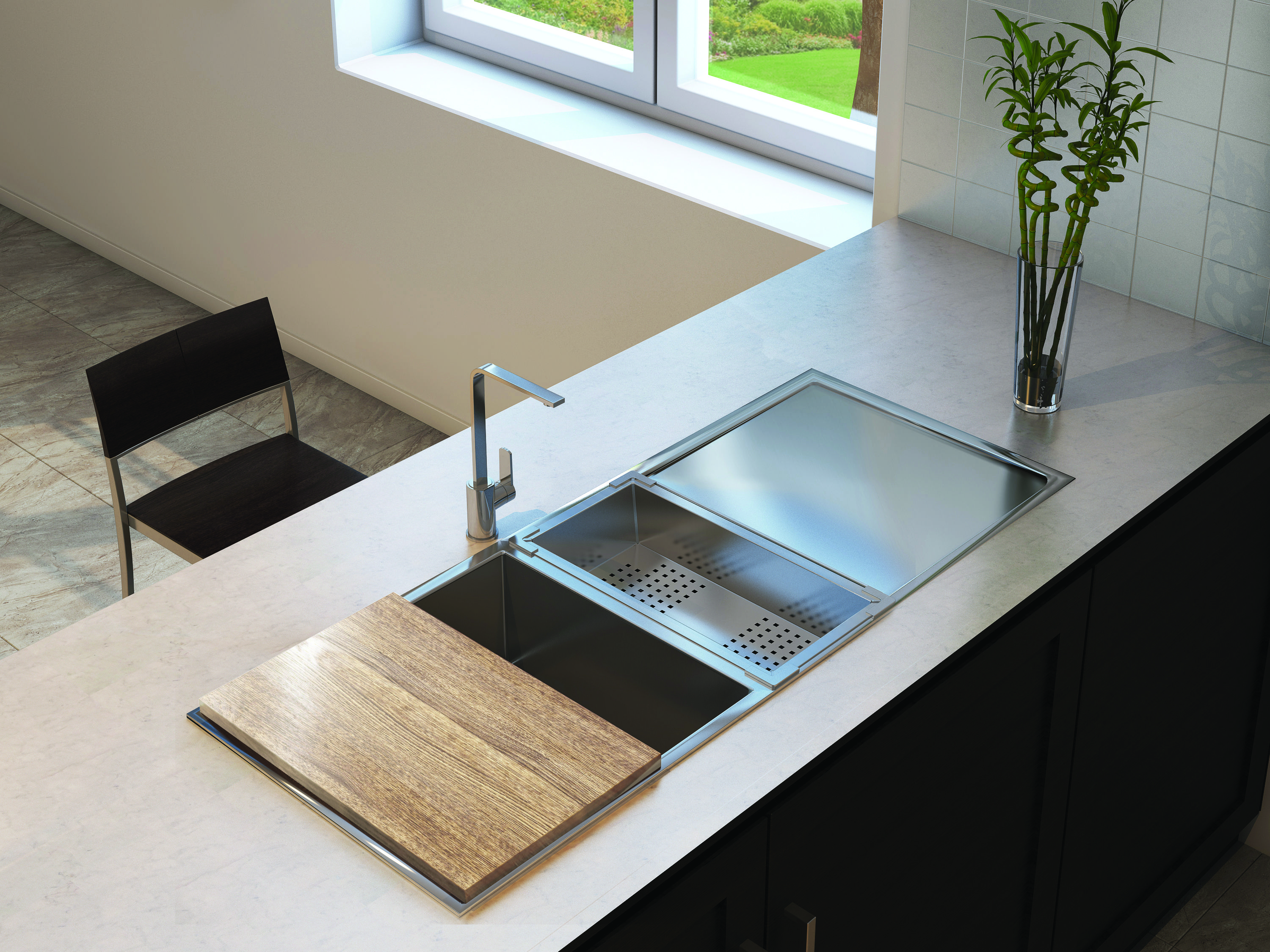 Squareline Plus One and Half Bowl with Drainer + Accessories by ...