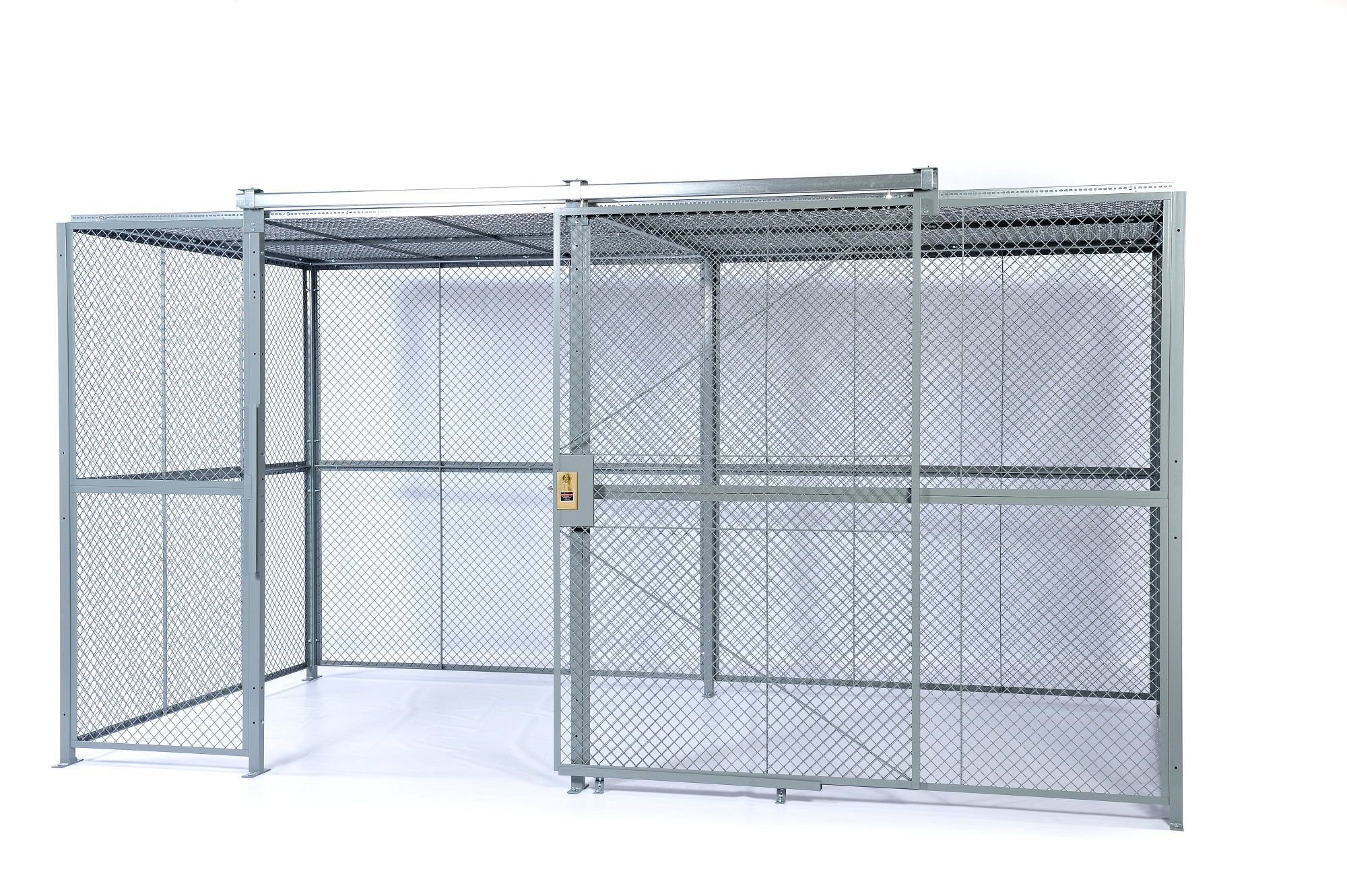 4-sided enclosure with woven wire mesh. Includes standard sliding ...