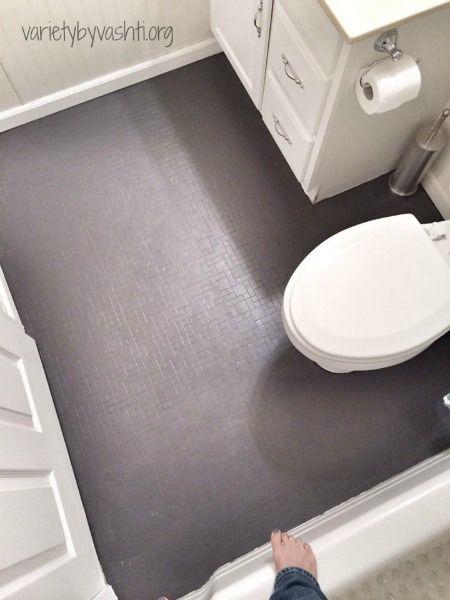 How I Painted Our Bath Tub Tile Floor Diy Under 30 Pisos De