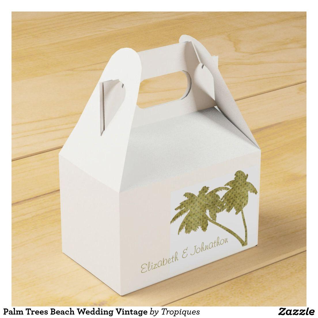 Palm Trees Beach Wedding Vintage Favor Box | Palm trees beach ...