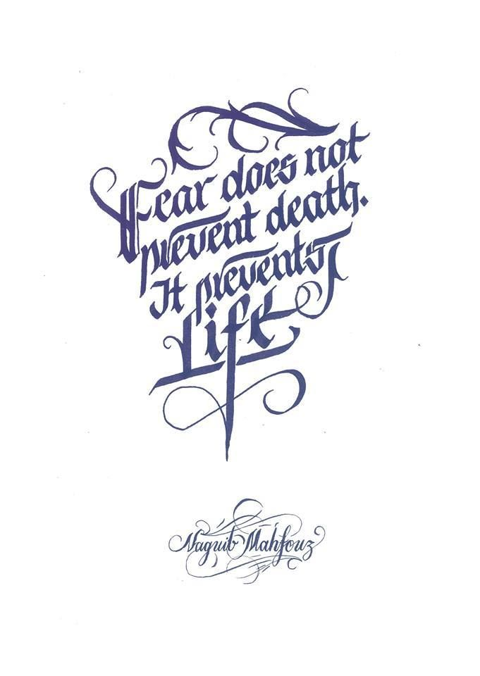 Fear does not prevent death it prevents life