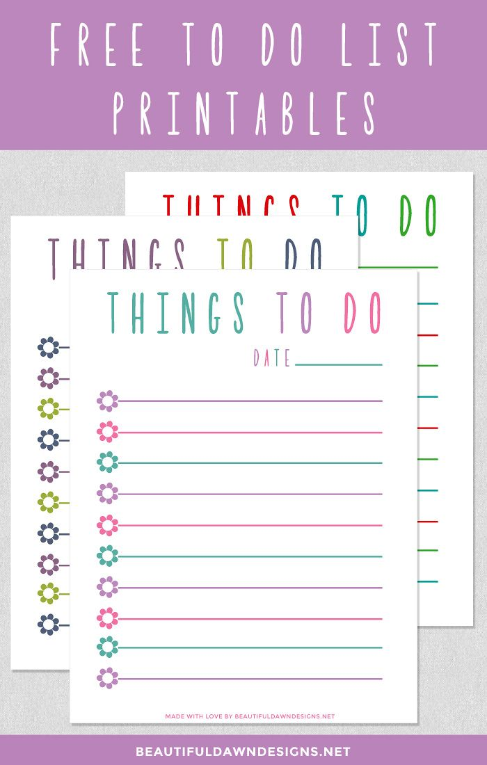 Free To Do List Printable  Beautiful Dawn Designs  Fonts Free