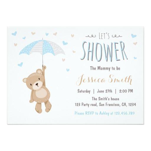 Baby Shower Teddy Bear Invitation Baby Boy blue Babies