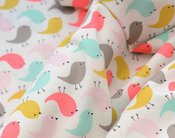cotton fabric for DIY Lovely birds cloth 50140cm by angahoon