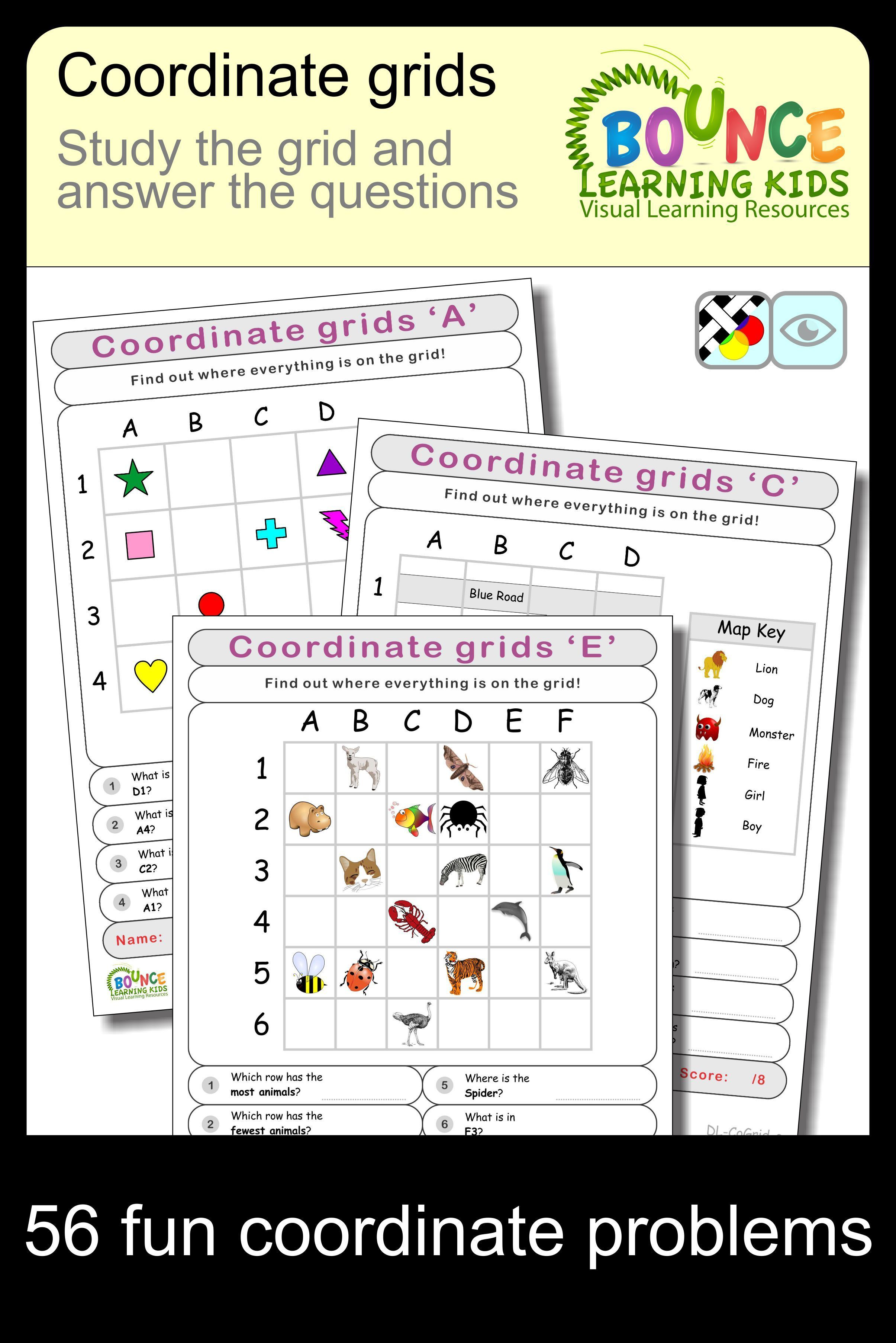 Coordinate Grids 7 Visual Perception Sheets