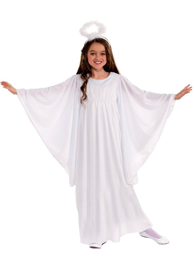 Sleeved Angel Girls Fancy Dress Christmas Nativity Xmas Childs Kids Costume New