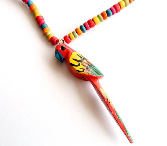 Vintage Parrot Pendant Necklace Carved Hand Painted Colorful
