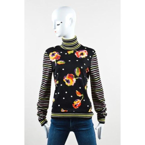 Pre-Owned Moschino Cheap & Chic Multicolor Floral Print Striped... ($85) ❤ liked on Polyvore featuring tops, sweaters, multi, ribbed turtleneck sweaters, long sleeve mock turtleneck, floral print tops, long sleeve sweater and long sleeve turtleneck