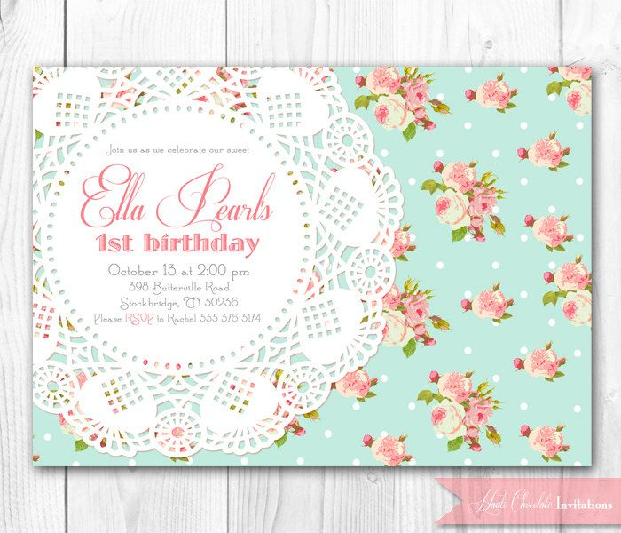 Shabby chic invitation vintage pearls lace invitation diy birthday invitation templates filmwisefo