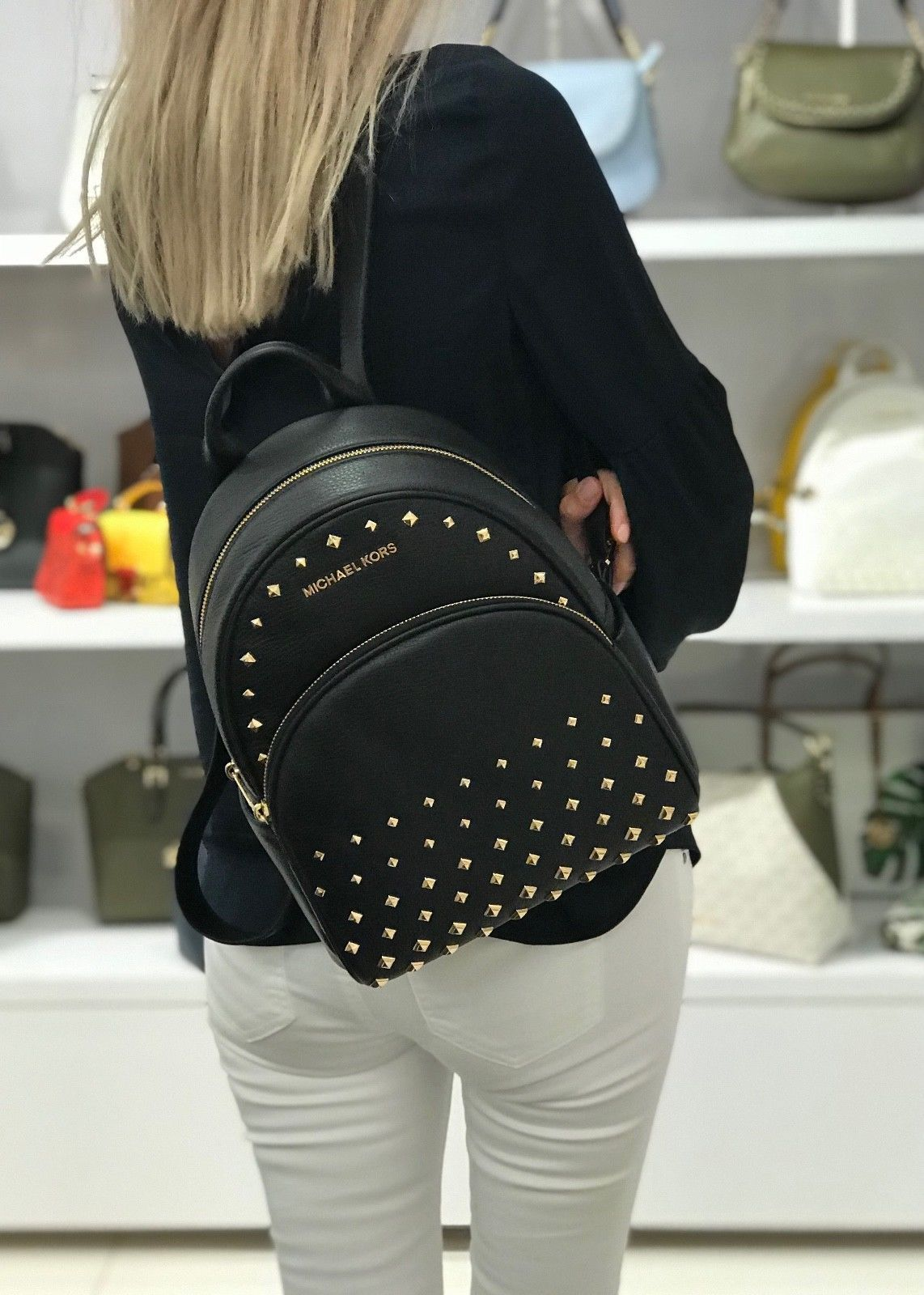403690935 MICHAEL KORS ABBEY MEDIUM STUDDED BACKPACK LEATHER BLACK | Designer ...