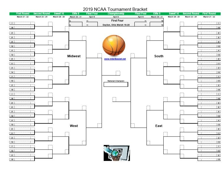 Get Your 2019 Printable March Madness Bracket For Men S Ncaa Tournament Interbasket Ncaa Tournament Bracket March Madness Bracket Ncaa Tournament