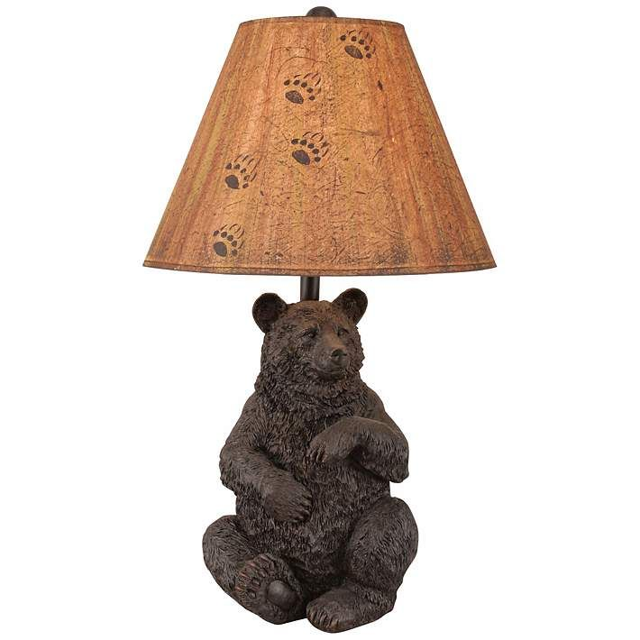 Wood Finish Rustic Bear Table Lamp