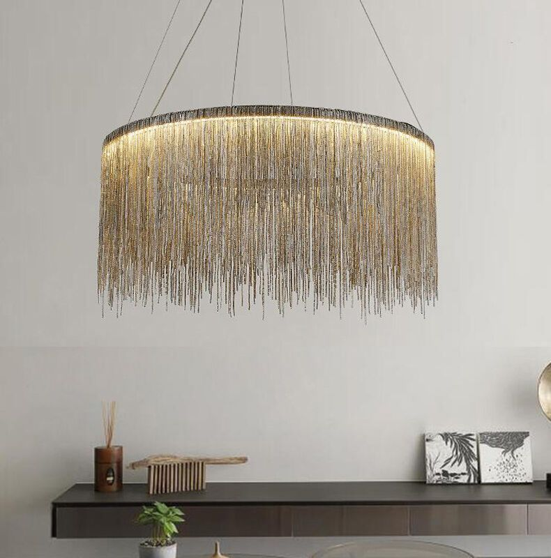Modern Simple Led Iron Chain Waterfall Tassel Chandelier Can Be